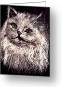 White Reliefs Greeting Cards - Cat life Greeting Card by Leonor Shuber
