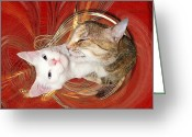 Zsuzsa Balla Greeting Cards - Cat Mother Love Greeting Card by Zsuzsa Balla
