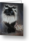 Kitten Pastels Greeting Cards - Cat n Mouse Say CHEEEEEEESE Greeting Card by Carla Carson