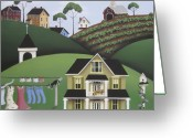 Farmhouse Greeting Cards - Cat Nap Greeting Card by Catherine Holman