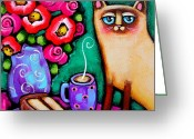 Red And Tea Greeting Cards - Cat with Coffee and Cake Greeting Card by Krista Smith
