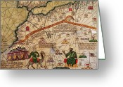 Old Map Drawings Greeting Cards - Catalan Map of Europe and North Africa Charles V of France in 1381  Greeting Card by Abraham Cresques