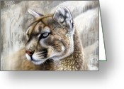 Lion Painting Greeting Cards - Catamount Greeting Card by Sandi Baker