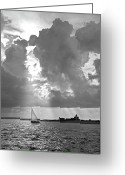 Sailing Cat Greeting Cards - Catboat in Barnstable Harbor Greeting Card by Charles Harden