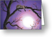 Laura Milnor Iverson Greeting Cards - Catch a Falling Leaf Greeting Card by Laura Iverson