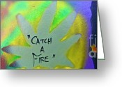 Sit-ins Painting Greeting Cards - Catch A Fire Greeting Card by Tony B Conscious