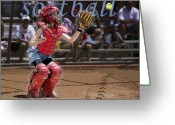 Baseball  Digital Art Greeting Cards - Catch It Greeting Card by Kelley King