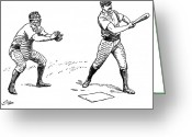 1889 Greeting Cards - Catcher & Batter, 1889 Greeting Card by Granger