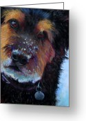 Fun Pastels Greeting Cards - Catching Snowballs Greeting Card by Billie Colson