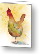 Chickens Greeting Cards - Catching Some Rays Greeting Card by Arline Wagner