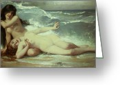 Erotica Painting Greeting Cards - Catching waves  Greeting Card by Paul Albert Laurens