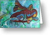 Anglers Greeting Cards - Catfish Greeting Card by Krista Ouellette