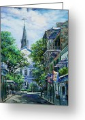 Louisiana Greeting Cards - Cathedral at Orleans Greeting Card by Dianne Parks