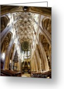 Building Detail Greeting Cards - Cathedral Glow Greeting Card by Joan Carroll