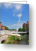 Buildings Greeting Cards - Cathedral Green Bridge at Derby Greeting Card by Rod Johnson