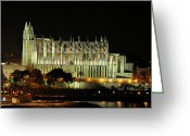 Cruise Ships Greeting Cards - Cathedral La Seu Greeting Card by Alex Hardie