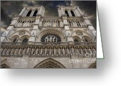Statues Greeting Cards - Cathedral Notre Dame of Paris. France   Greeting Card by Bernard Jaubert