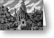 Canal Drawings Greeting Cards - Cathedral Greeting Card by Odon Czintos