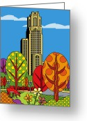 Learning Greeting Cards - Cathedral of Learning Greeting Card by Ron Magnes