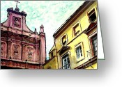 Religious Building Greeting Cards - Cathedral Plaza in Murcia Greeting Card by Sarah Loft