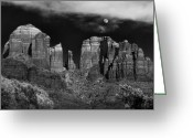 Sedona Greeting Cards - Cathedral Rock Moon Rise Greeting Card by Dave Dilli
