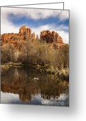 Butte Creek Greeting Cards - Cathedral Rock Reflections Portrait 1 Greeting Card by Darcy Michaelchuk