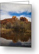 Butte Creek Greeting Cards - Cathedral Rock Reflections Portrait 2 Greeting Card by Darcy Michaelchuk