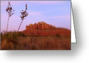 Split Rail Fence Greeting Cards - Cathedral Rock Sunset Greeting Card by Cindy Wright