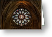 Stained Greeting Cards - Cathedral Window Greeting Card by Adrian Evans