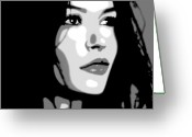 Brunette Greeting Cards - Catherine Zeta Jones 5 Greeting Card by Jim Belin