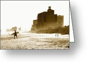 Myrtle Beach South Carolina Greeting Cards - Cathing An Early Wave Greeting Card by Kenneth Mucke
