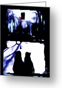 Window Art Digital Art Greeting Cards - Cats and Cardinal Greeting Card by Laura Brightwood