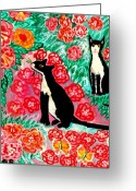 Animal Ceramics Greeting Cards - Cats and Roses Greeting Card by Sushila Burgess