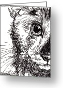 Pets Glass Art Greeting Cards - Cats Eye Greeting Card by Michele Hollister - for Nancy Asbell