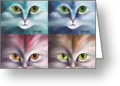 Whiskers Greeting Cards - Cats Eyes Greeting Card by Jutta Maria Pusl