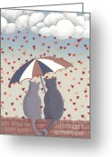 Valentine Reliefs Greeting Cards - Cats in Love Greeting Card by Anne Gifford