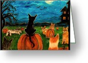 Haunted House Print Greeting Cards - Cats in pumpkin patch Greeting Card by Paintings by Gretzky