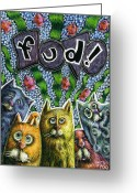 Whimsical Greeting Cards - Cats Know It by Name Greeting Card by Teresa Nolen Pratt