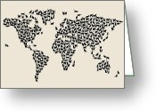 World Map Poster Digital Art Greeting Cards - Cats Map of the World Map Greeting Card by Michael Tompsett