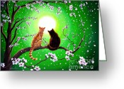 Black Cat Greeting Cards - Cats on a Spring Night Greeting Card by Laura Iverson