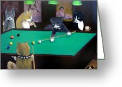 Hall Painting Greeting Cards - Cats Playing Pool Greeting Card by Gail Eisenfeld