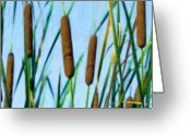 Blue Cat Greeting Cards - Cattails Greeting Card by Tom Mc Nemar