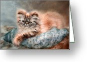Kitty Greeting Cards - Cattitude 1 Greeting Card by Carol Cavalaris