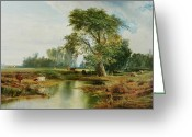 River Banks Greeting Cards - Cattle Watering Greeting Card by Thomas Moran