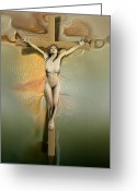 Sacred Greeting Cards - Caucasian crucified woman Greeting Card by Joaquin Abella Ojeda