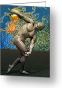 Discobolous Greeting Cards - Caucasian discobolus Greeting Card by Joaquin Abella Ojeda