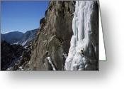 Winter Sports Photo Greeting Cards - Caucasian Male Ice Climbing Greeting Card by Bobby Model