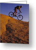 Evening Light Greeting Cards - Caucasian Male Mountain Biking Greeting Card by Bobby Model