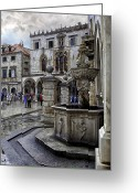 Raining Greeting Cards - Caught in the Rain - Dubrovnik Greeting Card by Madeline Ellis