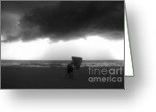 Beaches Greeting Cards - Caught in the storm Greeting Card by David Lee Thompson